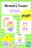 Egg Memory Match POP!  Easter  Game with Free card CHICK, colorful Oval shapes