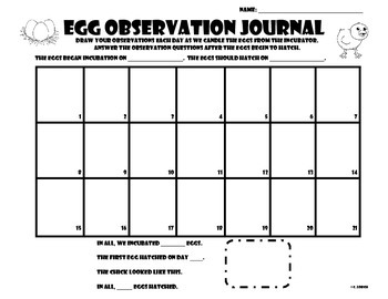 Egg Observation Journal for Incubation and Candling