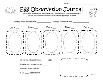 Egg Observation Journal for Incubation and Candling
