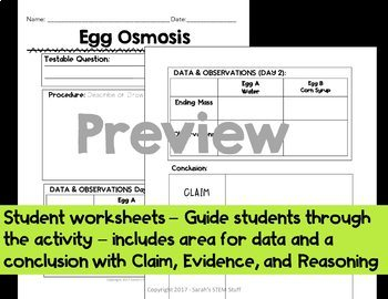 Egg Osmosis Scientific Argument:  Claim, Evidence, Reasoning