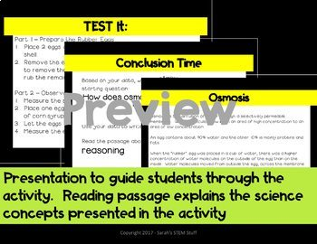 Egg Osmosis Scientific Argument with Claim Evidence Reasoning