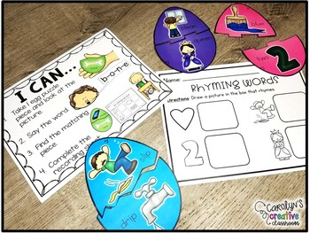 Egg Rhyming Puzzles (Self Correcting!) Easter or Spring Literacy Center