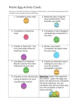 Egg-Stravigant Reading Activity Cards