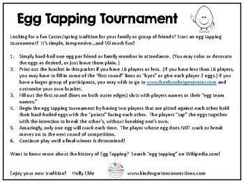 Egg Tapping Tournament Tradition and Bracket FREEBIE