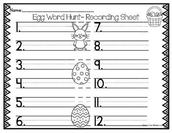Egg Word Hunt Recording Sheet- FREEBIE