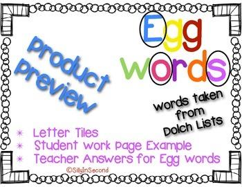 Egg Words Packet - Dolch PrePrimer Words