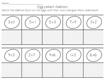 Egg-cellent Addition - Easter or Spring Center Activity and Worksheet