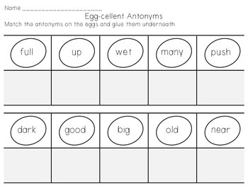 Egg-cellent Antonyms - Easter or Spring Center Activity and Worksheet