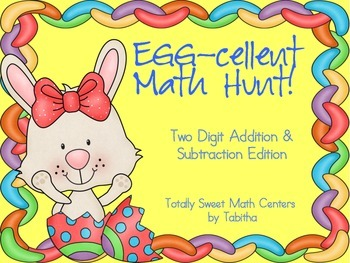 Egg-cellent Math Hunt- Adding and Subtracting Two Digit Numbers