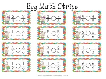 Egg-cellent Math Hunt- Comparing Fractions with like Numerators or Denominators
