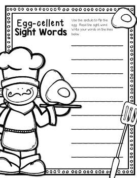 Egg-cellent Sight Words--Dolch Pre Primer and Primer Sight Word Center for K-2