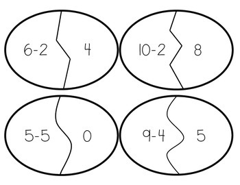 Egg-cellent Subtraction - Easter or Spring Center Activity and Worksheet
