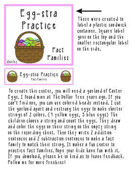Egg-stra Practice fact Family Math Center