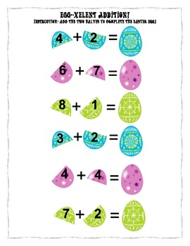 Egg-xellent addition: Easter Themed  Addition Worksheet