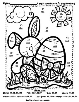 """Two-Digit Addition and Subtraction-""""Eggs""""tra Springy Math Fact Practice"""