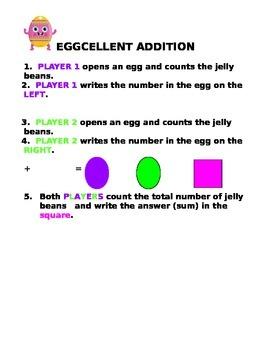 Eggcellent Addition Easter Math Center for PreK - First Grade