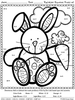 easter egg cellent equations math printables color by the code puzzles. Black Bedroom Furniture Sets. Home Design Ideas