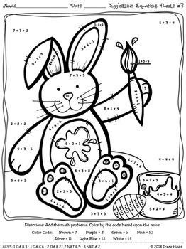 "Easter: ""Egg""cellent Equations ~ Math Printables Color By ..."