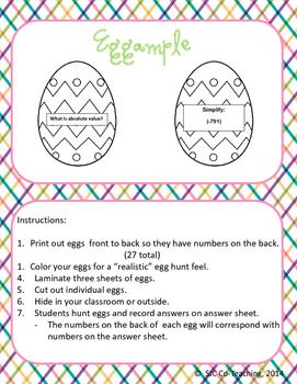 Eggcellent Integer Review Activity