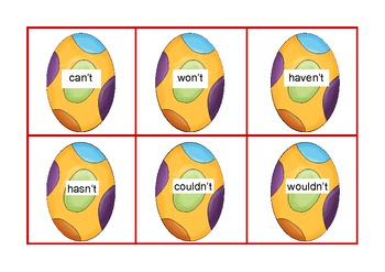 """Eggcellent """"Not"""" Contractions Center Game Common Core"""