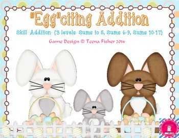 Eggciting Domino Picture Addition Kindergarten First - Freebie