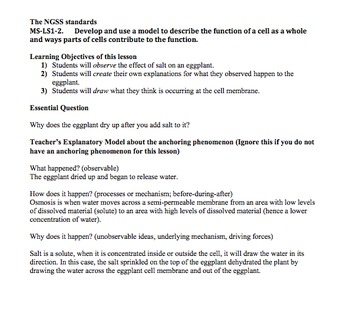 Eggplant Osmosis Lab Lesson Plan & Worksheet (NGSS) by Marcie\'s ...