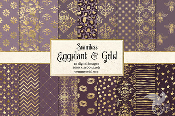 Eggplant and Gold digital paper, mauve purple and gold foil seamless patterns
