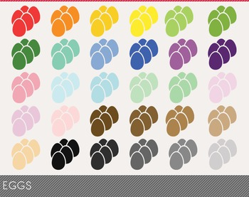 Eggs Digital Clipart, Eggs Graphics, Eggs PNG, Rainbow Eggs Digital Files
