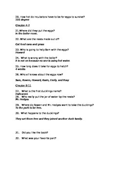 Eggs Over Easy Chapter Book Questions