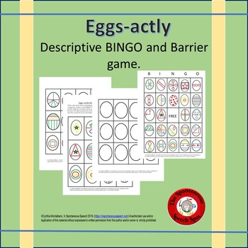 Eggs-actly Descriptive Cards for Barrier Game and Bingo