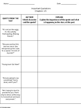 Eggs by Jerry Spinelli-- Identifying Important Quotations Practice