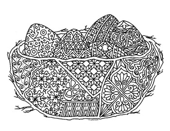 Eggs in Nest Zentangle Coloring Page