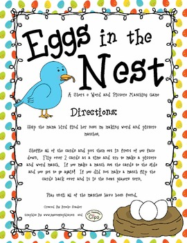 Eggs in the Nest - A Short e Word and Picture Matching Game