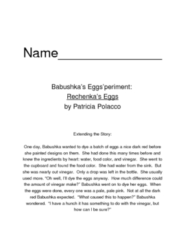 Egg'speriments for Rechenka's Eggs by Patricia Polacco