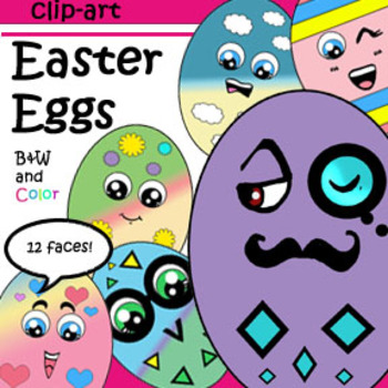 Eggstra Fun Egg-Emotions Clip-Art! 12 Eggs (plus blank) BW & Color!