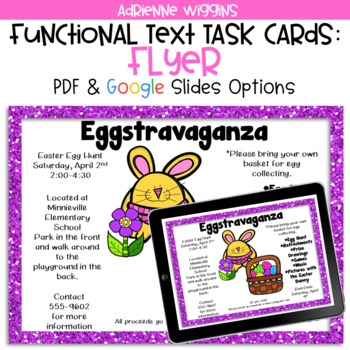 Eggstravaganza Flyer Functional Text Task Cards