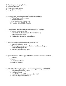 Egypt- 90 questions multiple choice test