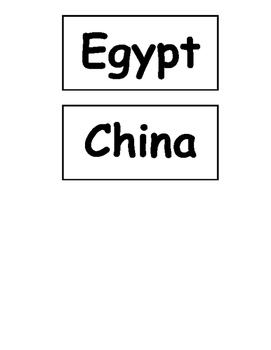 Egypt/China picture word sort