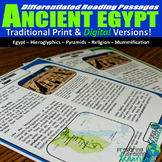 Ancient Egypt Differentiated Reading Passages (Print & Dig