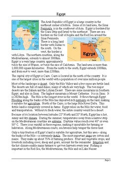Egypt Fact File: Reading Comprehension with Differentiated Activities