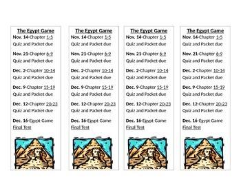 Egypt Game Bookmarks