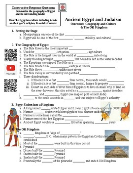 Egypt Geography, Culture, and The Old Kingdom Guided Lecture Notes Handout