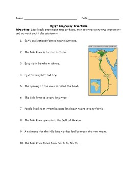 Egypt Geography True/False with ANSWER KEY