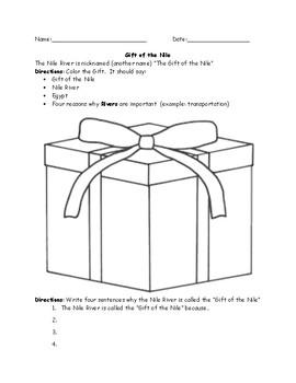 Egypt Gift of the Nile Worksheet
