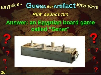"Egypt ""Guess the artifact"" game: engaging PPT with pictures, clues & answers"