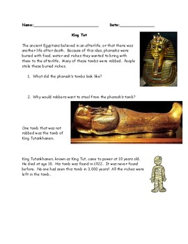 Egypt Guided Reading with Questions Worksheet (with ANSWER KEY)