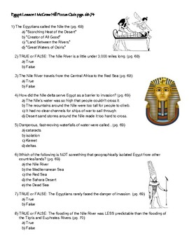 Egypt Lessons 1-3 for use with McGraw Hill 6th grade history FOCUS QUESTIONS