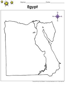Egypt Map - Blank - Full Page - Country - Portrait - King