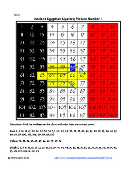 Math Mystery Pictures Egypt Theme Level 1 Numbers 1-120