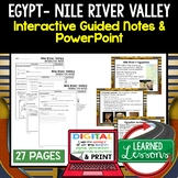 Egypt, Nile River Valley Civilization Guided Notes and Pow